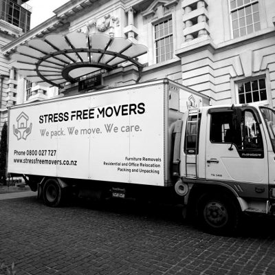 Stress Free Movers truck in Auckland city